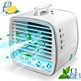 Portable Air Cooler Personal Air Conditioner Fan, Mini Evaporative Cooler Desk Fan with Handle, 3 Winds Speed, 7 Colors Light Changing Super Quiet Humidifier Misting Fan for Home Office Bedroom Outdoor