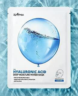 ISNTREE Korean Hydrating Hyaluronic Acid Facial Mask Sheet | Moisturizing Anti-Aging Wrinkle with Organic Ingredients | Pack of 10 facemasks | Acne Skin Care