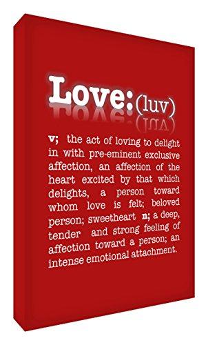 Feel Good Art De betekenis van de liefde galerij verpakt doos canvas, het solide front paneel (60 x 40 x 4 cm, groot, rood)