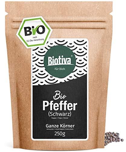 Pimienta entera orgánica 250 g - granos de pimienta entera en calidad orgánica superior - adecuada para molinos de pimienta - Piper nigrum - Origen Sri Lanka / Ceylon