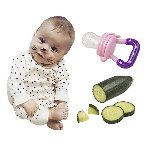 Fruchtsauger Schnuller für Obst und Gemüse in verschiedenen Farben mit GRATIS GESCHENKTASCHE für Babys (Pink) - 5