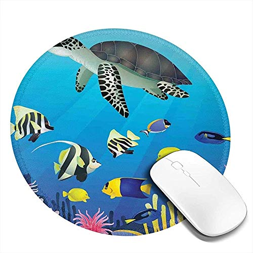 Tappetino per Mouse Rotondo,Tartaruga di Mare Putterfish Pesce Pagliaccio Nuoto Subaquatic Vita Tropicale Pinne Stampa Alga Antiscivolo Mousemat,20Cm Mousepad Impermeabile
