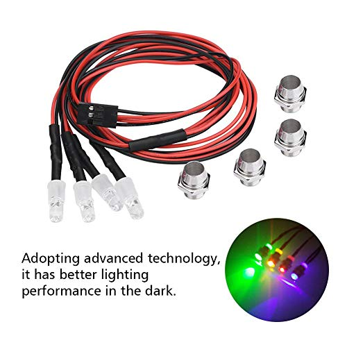 RC Auto LED Lichter, 4 Stück Scheinwerfer RC Zubehör LED Lichter für Modell Drift Auto Fahrzeug( 3 # Farben Licht)