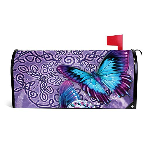 Purple Celtic Butterfly Magnetic Mailbox Cover Wraps Post Box Canvas Garden Yard Home Decor for Outside - 21' X 18'