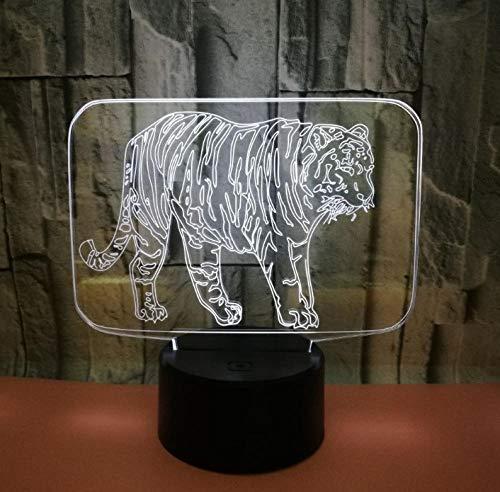 QKAW 3D LED Luz de noche Tigre animal Ilusión 3D 7 colores con luz no