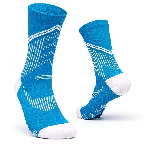 Calcetines de ciclismo de carretera hombres y mujeres entrenamiento general calcetines de compresión antideslizantes resistentes contra el aliento Turquesa/Blanco