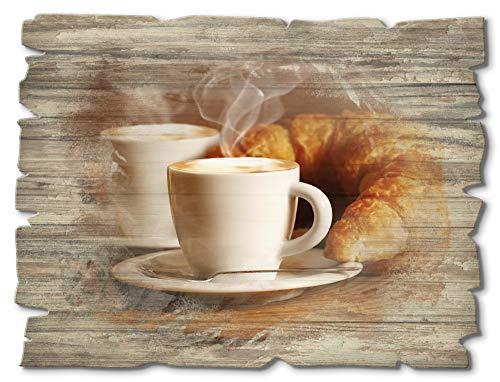 Artland Wandbild aus Holz Shabby Chic Holzbild rechteckig 40x30 cm Querformat Kaffee Coffee Cafe Cappuccino Latte Macchiato Croissant T5XO