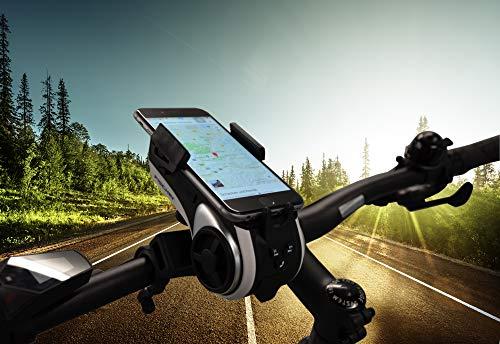 FISCHER Smartphone-Halter mit Musikbox und Powerbank für Fahrrad und Freizeit