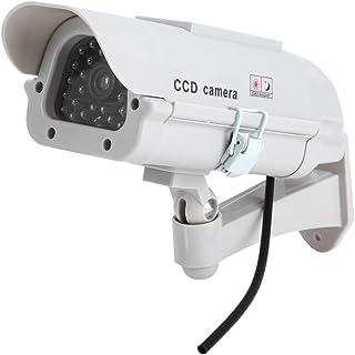 1 Gran cámara de vigilancia Solar Dummy para Exteriores cámara Falsa con Lente y luz Intermitente videovigilancia Seguridad de mercancías.