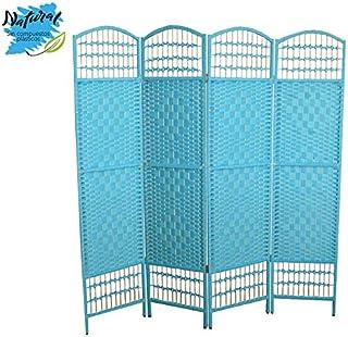 Hogar y Mas Biombo Separador de Ambientes, de 4 Paneles, economico, en Bambú Natural y Mimbre. Color Azul, Patas de Acero. 170x160 cm.