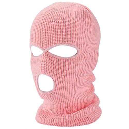 RK-HYTQWR Halloween 3-Loch gestrickte Vollgesichtsabdeckung Winter Warm Neon Sturmhaube Maskenhut, Pink Phoenix Warrior Hat, Pink