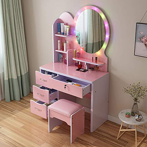 Large Vanity Table Set With Adjustable Led Lighted Mirror & Cushioned Stool,Girl Dressing Table With Drawers,Women Makeup Table Bedroom Makeup Organizer-D 80cm(31inch)