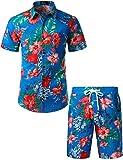 JOGAL Chemise hawaïenne à manches courtes pour homme - Style décontracté et floral., Bleu lac, Taille S