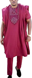HD African Men Clothing Dashiki Top Shirts and Pants Bazin Riche West African Heritage Cultural Outfits 3 Pieces