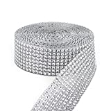 YYaaloa 10 Yards 30ft 8 Row Silver Diamond Rhinestone Mesh Ribbon Bling Bling Wrap Bulk (8Row Silver)