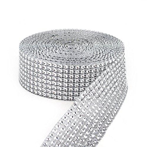 Y&Y Star 10 Yards 30ft 8 Row Silver Diamond Rhinestone Mesh Ribbon Bling Bling Wrap Bulk (8Row Silver)