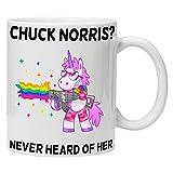 Unbekannt acen Chuck Norris? Nie von Ihr gehört Angry Einhorn Tasse aus Keramik, weiß, 11Oz