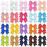 40 piezas de 2.4 pulgadas bebé niñas lazos de pelo clips cocodrilo cinta grogrén boutique clips accesorios para el cabello para niños pequeños