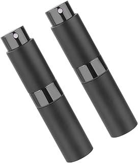 SONONIA 2個 お買い得 詰め替え可能 回転 香水アトマイザー トラベルボトル ポンプボトル 空スプレーボトル 8ml  ブラック