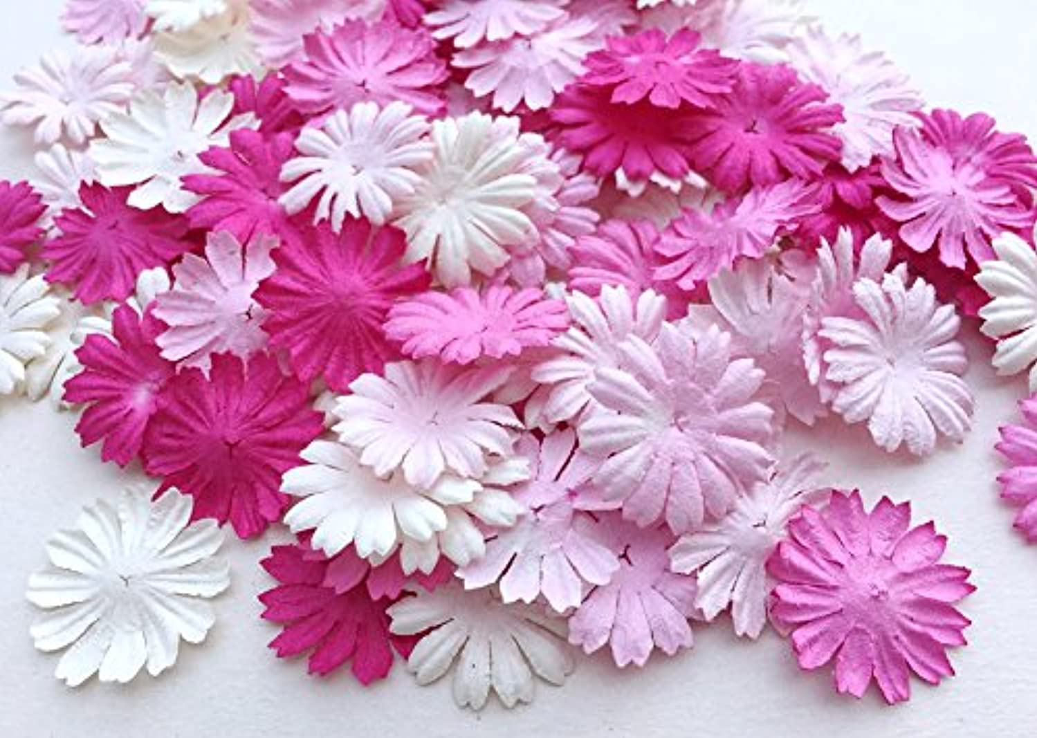 ICRAFY 100 Assorted Pink Daisy Flower Mulberry paper , Die cut 100 Pcs. Size 1