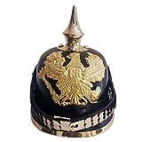 Prussian Leather Pickelhaube German Helmet WW1 W/Spike Chin Scale Armor Black