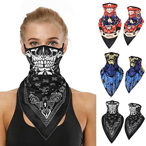 Sethexy Fashionl Halsmanschette Elastisch Atmungsaktiv Gesichtsschal 3 Stk Multifunktional Wicking Sturmhauben Motorrad fahren Radfahren Skelettdruck Kopfbedeckungen für Männer und Frauen