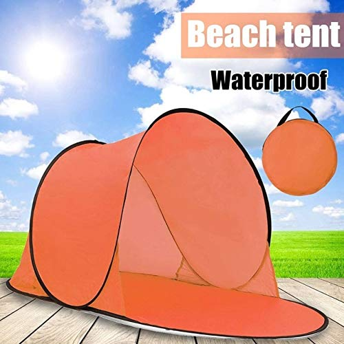 Mdsfe Outdoor Portable Tent UV Beach Camping Tent Pop Up Open Beach Mat Folding Automatic for 1-2 Person-Orange,A3