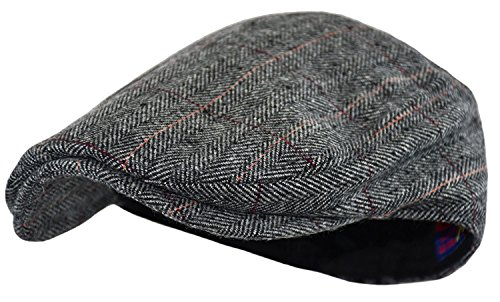 Wonderful Fashion Men's Classic Herringbone Tweed Wool Blend Newsboy Ivy Hat (Large/X-Large, Gray Plaid)