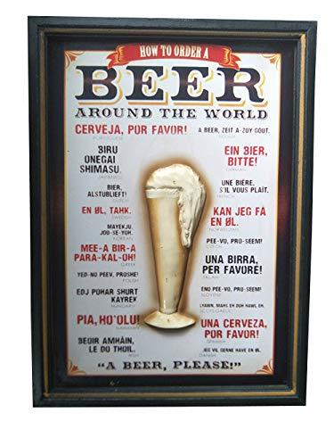 Fleda TRADING Quadro Legno Targa Vintage Come ORDINARE Le Birre nel Mondo Decorazione da Parete. Prodotto Very Cult, Dim. Cm. 54x39
