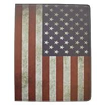iPad 第4世代(iPad 4)/ iPad2 / 新しいiPad(iPad3)用スタンドケース アメリカ国旗・星条旗柄【レッド、ブルー系カラー】