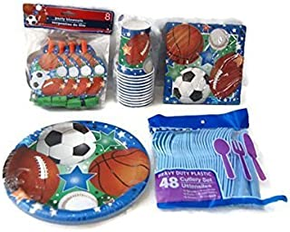 Sports Theme Birthday Party Supplies Pack - Plates, Napkins, Cups, Cutlery, Party Blowouts - Baseball, Football, Soccer, Basketball by Greenbrier