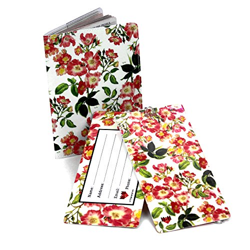 Unknown TS-Flowers-A, Unisex, Erwachsene (nur Gepäck) Reisepasshülle, Pink Roses (Pink) - TS-2506A