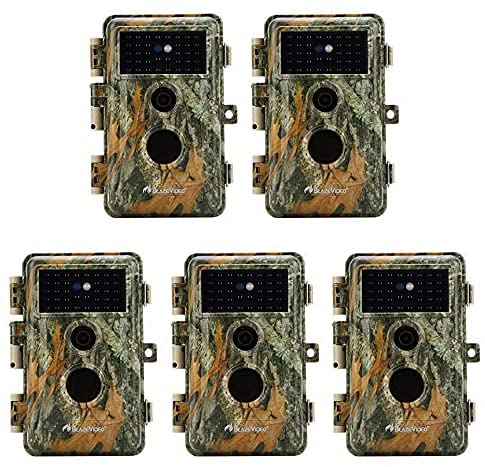 5-Pack Game & Trail Cameras 24MP 1296P H.264 MP4 Video 75ft Night Vision Time Lapse Wildlife Deer Hunting Cams No Glow Infrared Motion Activated IP66 Waterproof Password Protection Photo & Video Model