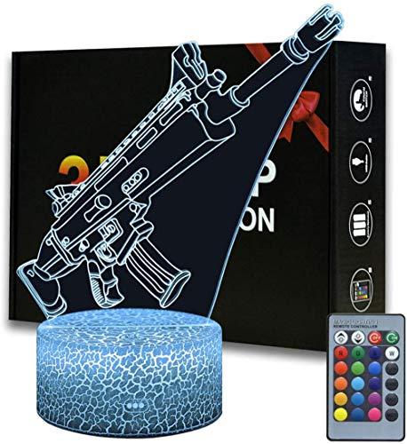 3D Illusion Fortress Games Regalos Scar Night Light con 16 cambios de color y control remoto, regalos para niños a partir de 3 4 5 6+ años