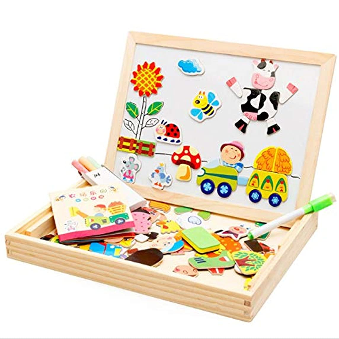 Mideer Puzzle - 4 Styles Multifunctional Magnetic Board Double Face Drawing Wooden Education Toys Erase Jigsaw - Hammer System Smarty Kindergarten Shapes Solar Building Coding Developmental