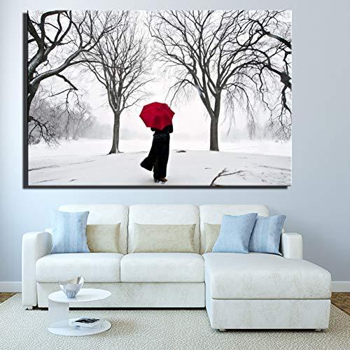 ADGUH Leinwanddrucke Winter Schneelandschaft Wohnkultur Poster Für Wohnzimmer Frau Mit Einem Roten Regenschirm Bilder Für Bett Room Decor