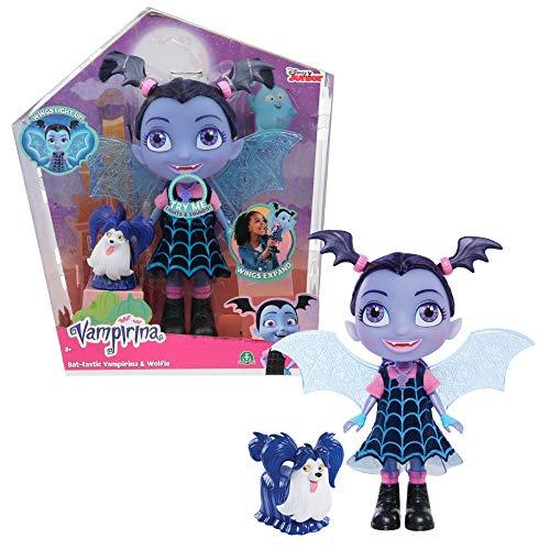 Vampirina - Bat-Muñeca de 24 cm con alas Luminosas, Efectos sonoros y Luminosos, una Figura PIlou incluida, Juguete para niños a Partir de 3 años, VAM15