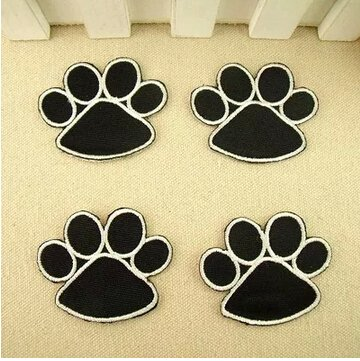 The bestdeal Lovely Paws Design Iron on Patches for Kid's Hat,Clothes and Jeans(4PCS Black Color)