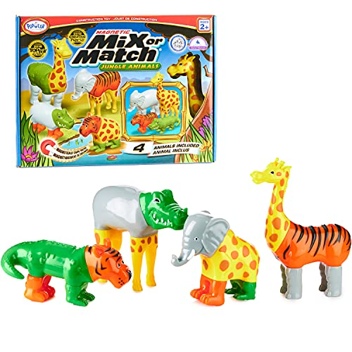 Magnetic Mix or Match Jungle Animals Toy Play Set, 16 Pieces