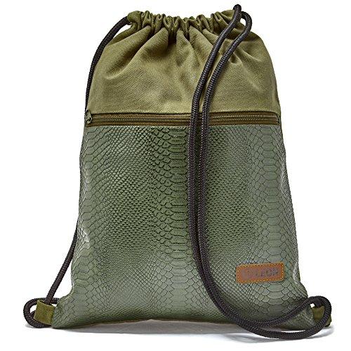 By Bers LEON Turnbeutel mit Innentaschen in Kork oder Schlange -Design Rucksack Tasche Damen Herren & Teenager Gym Bag Draw String (Schlange_Grün)