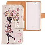Lankashi PU Flip Leder Tasche Hülle Hülle Cover Schutz Handy Etui Skin Für Wiko Getaway Umbrella Girl Design