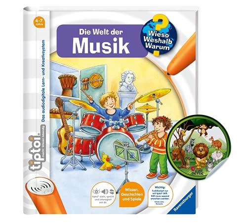 Collectix Ravensburger tiptoi Buch Wieso? Weshalb? Warum? - Die Welt der Musik + Kinder Tier-Sticker | ab 4 Jahren