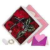 Danolt Flor de Jabón en Caja de Regalo, Flor de Rosa Artificial, para el día de la Madre, el día de San Valentín, el día del Maestro, la Boda, la Decoración del Hogar