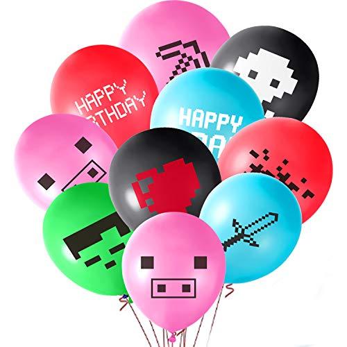 ASTARON 48PCS Minería Diversión Globos de fiesta Globos de videojuegos de 12 pulgadas para suministros de fiesta de minero Favores de fiesta de cumpleaños, 12 patrones diferentes