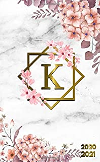 2020-2021: Initial Monogram Letter K Two-Year Monthly Pocket Planner with Phone Book, Password Log & Notebook. Nifty 2 Year Agenda, Organizer and Calendar - Grey Marble & Gold Pink Floral Print