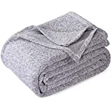 KAWAHOME Summer Knit Blanket Lightweight Soft Breathable Cozy Fuzzy Heather Jersey Comfortable Thin Blanket for Couch Sofa Bed King Size 108X90 Inches Grey and White