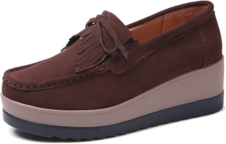 YKH Wedges for Women Wide Width Slip On Platform Sneakers Tassel Loafers shoes