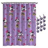 Disney Minnie Mouse Purple Love Shower Curtain & 12-Piece Hook Set & Easy Use - Kids Bath Features Minnie Mouse (Official Disney Product)