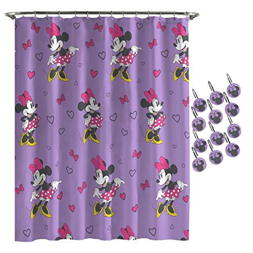 Jay Franco Disney Minnie Mouse Purple Love Shower Curtain & 12-Piece Hook Set & Easy Use - Kids Bath Features Minnie Mouse (Official Disney Product)