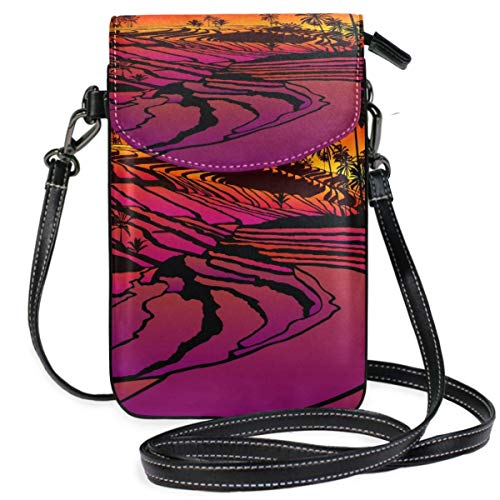 XCNGG bolso del teléfono Rice Terraces South Island Sunset Cell Phone Purse Wallet for Women Girl Small Crossbody Purse Bags
